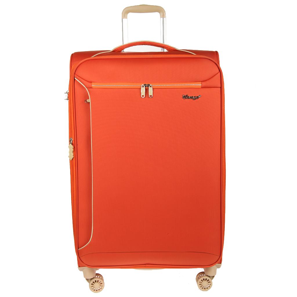 """Чемодан-тележка Verage, 94/108 л, GM13005W 28, оранжевыйGM13005W 28 orangeЯркий чемодан-тележка Verage на четырех колесах идеально подходит для поездок и путешествий. Чемодан изготовлен из полиэстера оранжевого цвета с водозащитным покрытием, элементы отделки выполнены из бежевого пластика. Чемодан имеет одно вместительное отделение для хранения одежды и аксессуаров, которое закрывается на двустороннюю застежку-молнию. Имеется встроенный кодовый замок с функцией TSA. Объем отделения можно увеличить на 20%. Внутри содержится большой отдел для одежды с багажными ремнями, сетчатый карман на молнии для различных предметов. Внутренняя поверхность изделия отделана полиэстером бежевого цвета. С внешней стороны расположены два дополнительных кармана на молниях. На одной из боковых сторон предусмотрены пластиковые ножки, на другой - удобная ручка для переноски. В верхней части чемодана также предусмотрена ручка. Чемодан оснащен удобной телескопической ручкой, которая выдвигается нажатием на кнопку. На задней стенке чемодана расположено """"окошко"""" с..."""