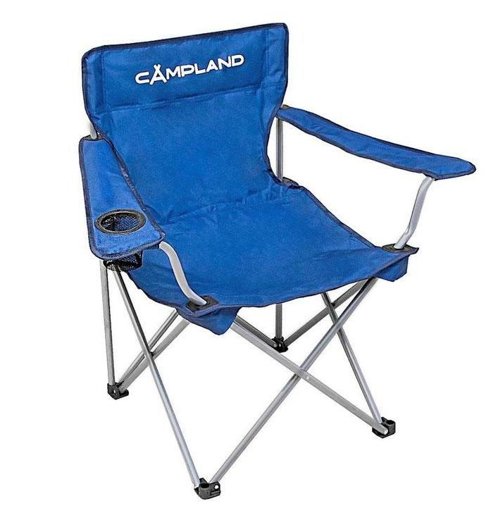 Кресло складное CamplandBC026-1Складное кресло Campland с широким сиденьем и подлокотниками станет незаменимым предметом в походе, на природе, на рыбалке, а также на даче. Изготовлено из полиэстера с водоотталкивающей пропиткой. Каркас выполнен из стали. Выдерживает нагрузку в 130 кг.