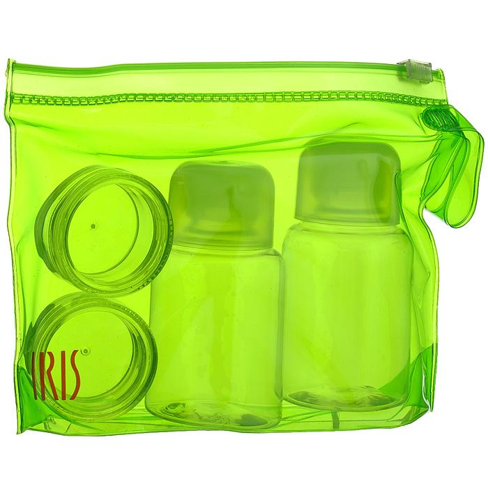 Набор для специй Iris Barcelona, цвет: зеленый, 5 предметов2986-PVНабор для специй Iris Barcelona состоит из двух круглых контейнеров для специй (например, соли и перца), двух бутылочек для жидкостей (например, уксуса и масла) и сумочки. Изделия оснащены плотно завинчивающимися крышками, что исключает проливание. Набор выполнен из прозрачного пластика. Упакован в прозрачную ПВХ-сумочку зеленого цвета. Набор для специй Iris Barcelona можно взять с собой куда угодно: на работу, отдых или пикник. Вы везде сможете приправить блюда вашими любимым специями.