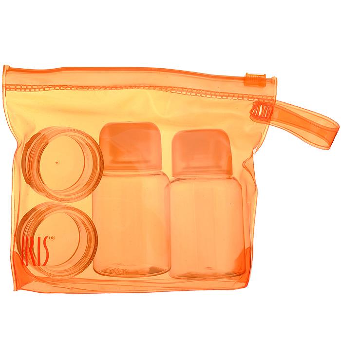 Набор для специй Iris Barcelona, цвет: оранжевый, 5 предметов2986-PNНабор для специй Iris Barcelona состоит из двух круглых контейнеров для специй (например, соли и перца), двух бутылочек для жидкостей (например, уксуса и масла) и сумочки. Изделия оснащены плотно завинчивающимися крышками, что исключает проливание. Набор выполнен из прозрачного пластика. Упакован в прозрачную ПВХ-сумочку оранжевого цвета. Набор для специй Iris Barcelona можно взять с собой куда угодно: на работу, отдых или пикник. Вы везде сможете приправить блюда вашими любимым специями.