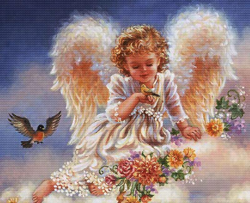 Набор для вышивания крестом Ангел с птичками, 44 см х 37 см3990-14 Ангел с птичкамиВ наборе для вышивания крестом Ангел с птичками есть все необходимое для создания собственного чуда: канва, специальные нити, цветная схема рисунка, две иглы и инструкция по вышиванию. Красивый и стильный рисунок-вышивка, выполненный на канве, выглядит оригинально и всегда модно. Работа, сделанная своими руками, создаст особый уют и атмосферу в доме и долгие годы будет радовать вас и ваших близких. Работа, которая отвлечет вас от повседневных забот, и превратится в увлекательное занятие!