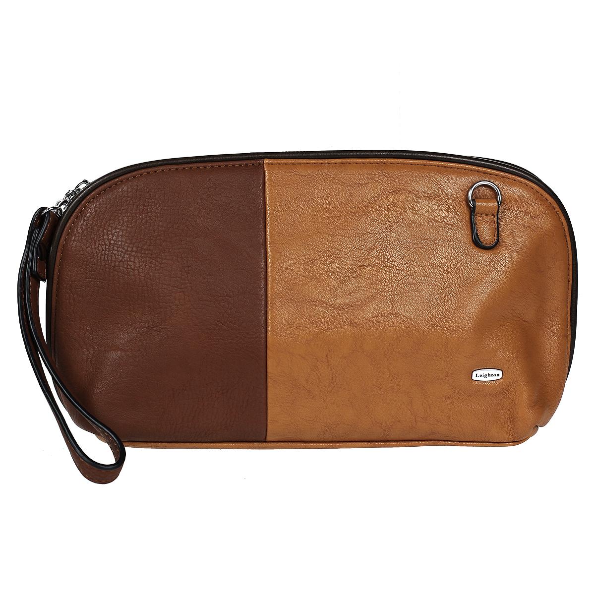 Сумка-клатч женская Leighton, цвет: коричневый, рыжий. 510336-1588510336-1588/13/1598/10/15Изысканная женская сумка-клатч Leighton выполнена из высококачественной искусственной кожи. Модель закрывается на застежку-молнию. Внутри одно отделение. В отделении есть один накладной кармашек и один врезной карман на застежке-молнии. Задняя сторона дополнена плоским врезным карманом на застежке-молнии. В комплекте - два плечевых ремня, разной длины, не большая ручка и чехол для хранения. Яркий дизайн сумки, сочетающий классические формы с оригинальным оформлением, позволит вам подчеркнуть свою индивидуальность и сделает ваш образ изысканным и завершенным.