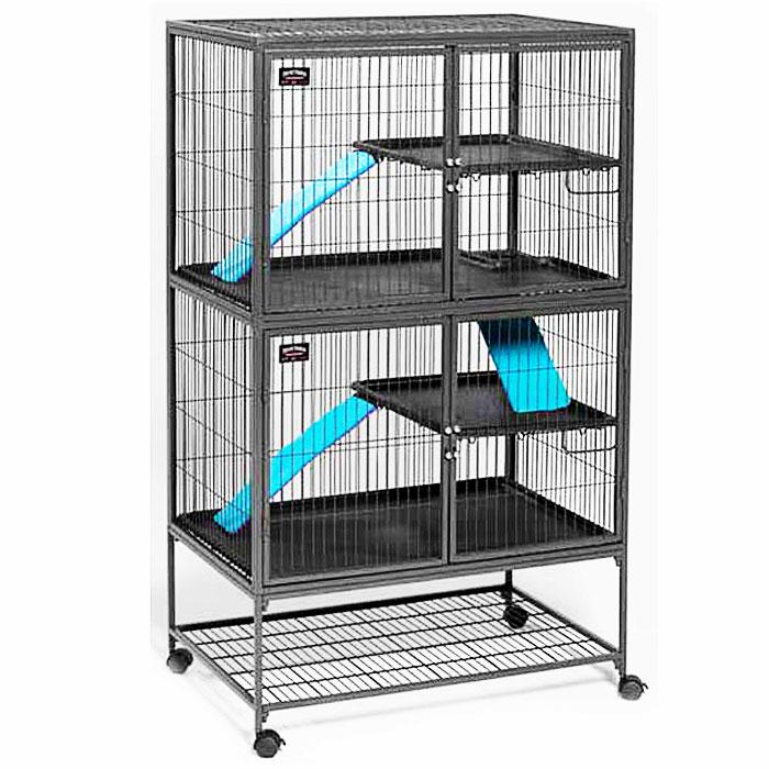 Клетка для хорьков Midwest, 2 этажа, 91,5 см х 63,5 см х 160 см182Двухэтажная клетка от Midwest - прекрасно подойдет для активных хорьков! Она обладает практичными размерами, крепкими дверями, которые открываются по всей высоте. Клетка оснащена двумя межэтажными покрытиями, 2 полками, 3 лестницами, что позволит ему всегда быть в движении. Прочные двери с замками двойного захвата и пластиковые аксессуары для большей устойчивости клетки обеспечат безопасность вашего питомца. Для большей устойчивости на клетке установлены 4 колеса, 2 из которых блокируются. Запирающиеся пандусы образуют безопасные секции для уборки. Размер клетки (ДхШхВ): 91,5 см х 63,5 см х 160 см. Вес конструкции: 44 кг. Товар сертифицирован.