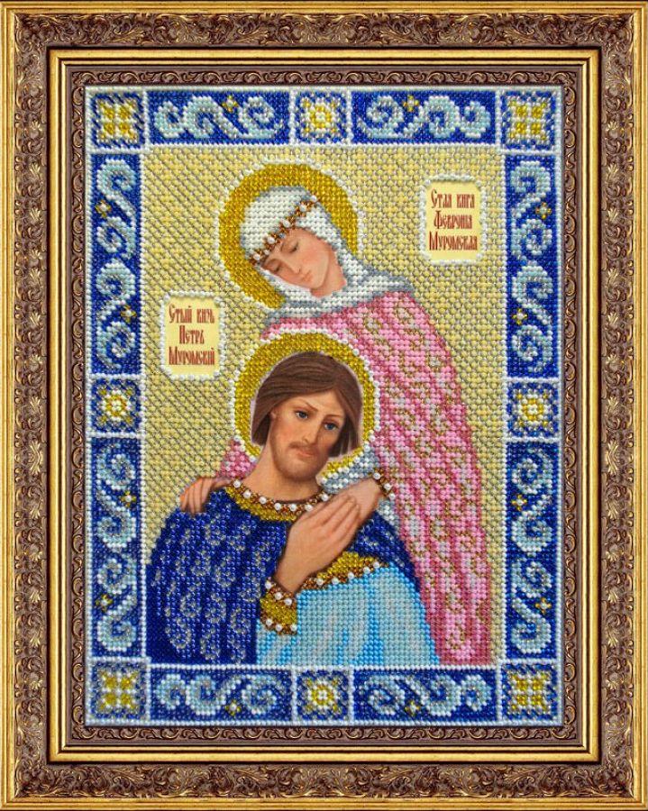 Набор для вышивания бисером Святой князь Петр и княгиня Феврония, 20 см х 26,5 см. 280041280041