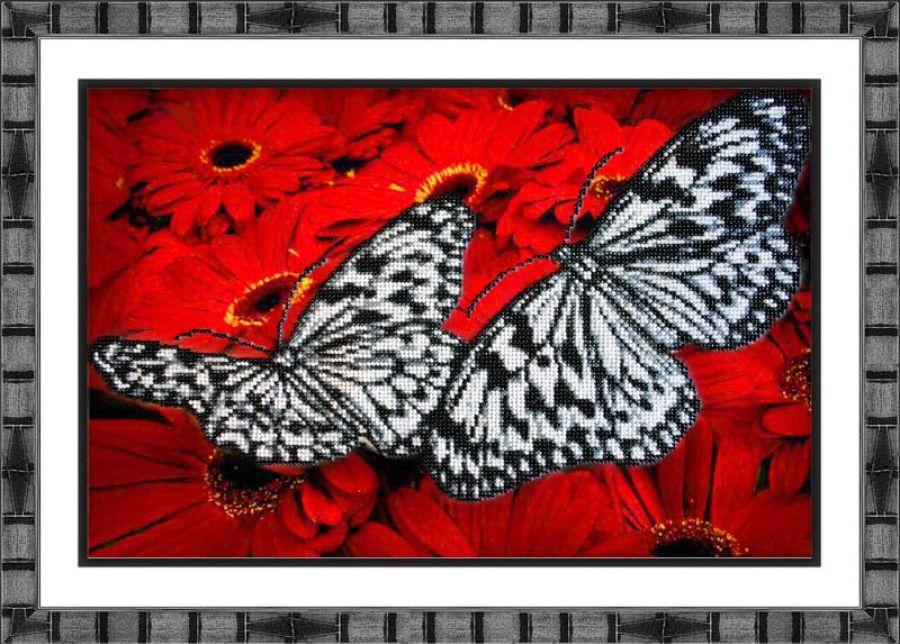 Набор для вышивания бисером Бабочки на красном, 36 х 25 см Б1413280044