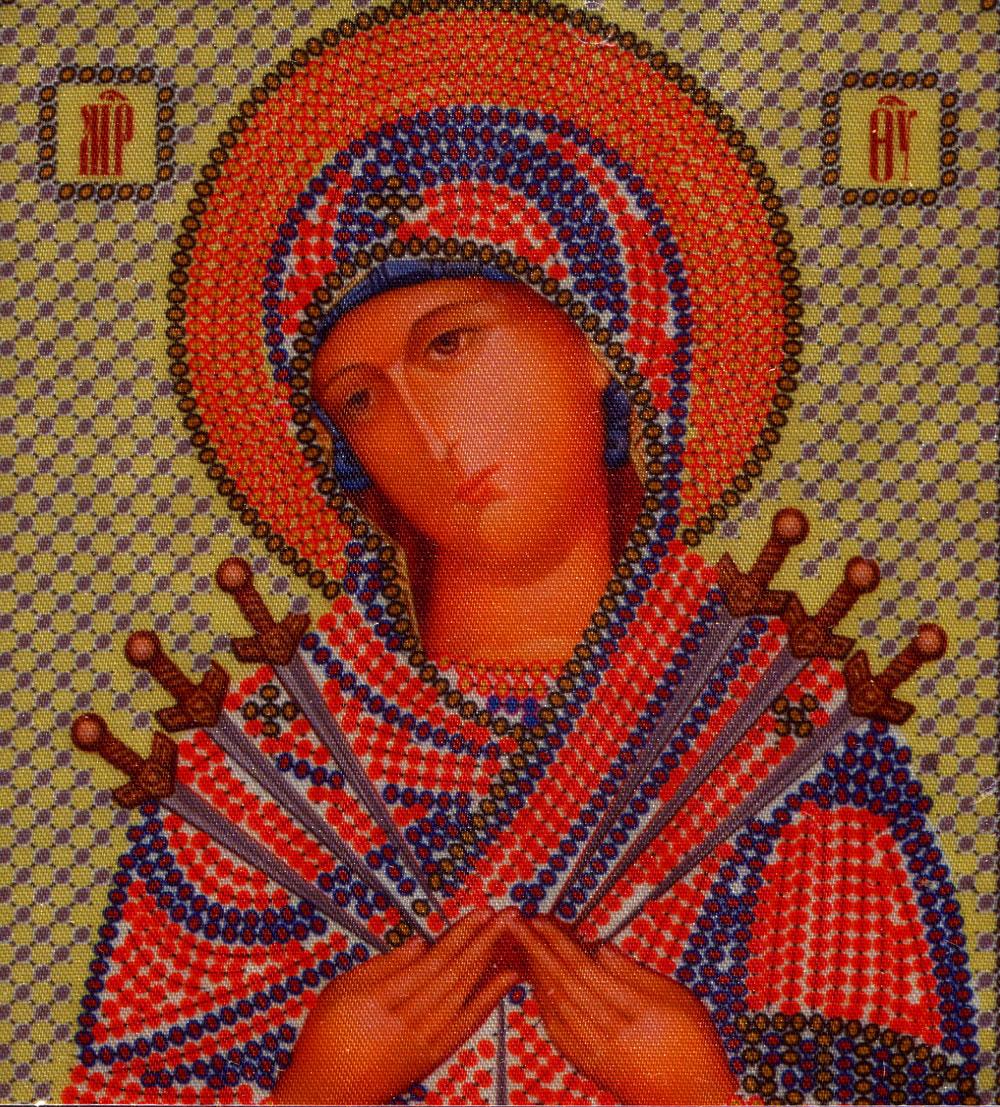 Набор для вышивания бисером Пресвятая Богородица Семистрельная, 13 см х 17 см354296
