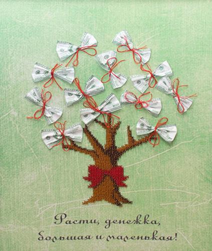Набор для вышивания бисером Gluriya Денежное дерево, 30 х 38 см385020