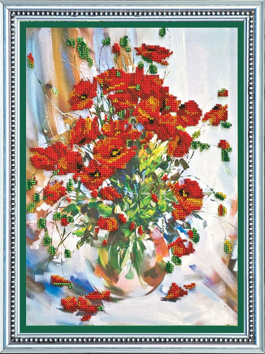 Набор для вышивания бисером Маки, 25,5 см х 35 см. АВ-009556013