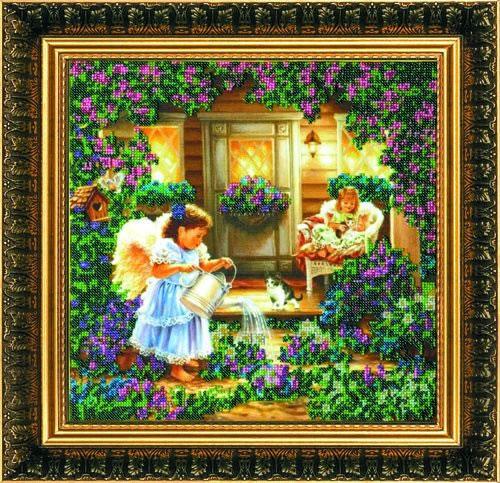 Набор для вышивания бисером Ангелы, 32 см х 32 см. АВ-013556017