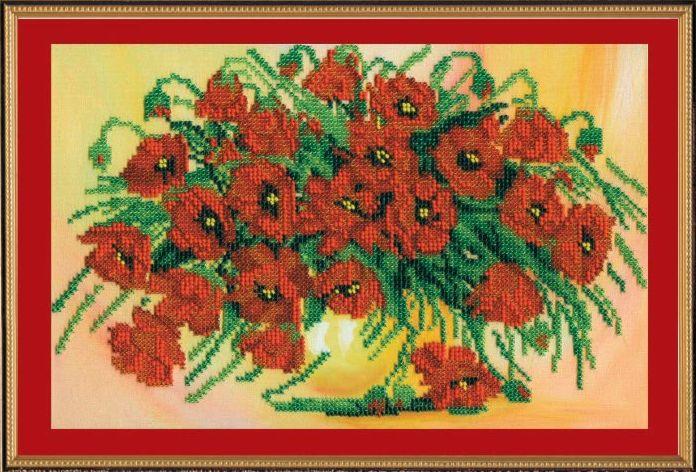 Набор для вышивания бисером Алое сияние, 30 х 20 см АВ-134556094