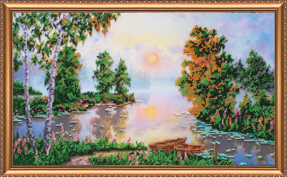 Набор для вышивания бисером Утренняя дымка, 50 х 30 см АВ-190556128Набор для вышивания бисером Утренняя дымка поможет вам создать свой собственный шедевр - красивую вышитую картину. Основа создаваемой картины - натуральный художественный холст аналогичный тому, на котором пишут картины художники. Благодаря ему все элементы, которые творил художник, создавая картину, по мотивам которой разработана схема для вышивки, передаются с максимальной точностью. Сама структура холста делает напечатанную на нем картину отличной репродукцией. Краски, которые используются для нанесения изображения, экосольвентные, а значит, вы можете смело стирать готовое изделие, удаляя с его поверхности загрязнения, а так же покрывать его лаком как при помощи аэрозолей, так и при помощи обычной кисточки! Кроме того со временем краски не потускнеют, не потрескаются - даже при попадании прямых солнечных лучей или влаги, им не страшны перепады температур и прочие неприятности. Благодаря особо прочной структуре холста картина никогда не деформируется под тяжестью бисера. ...