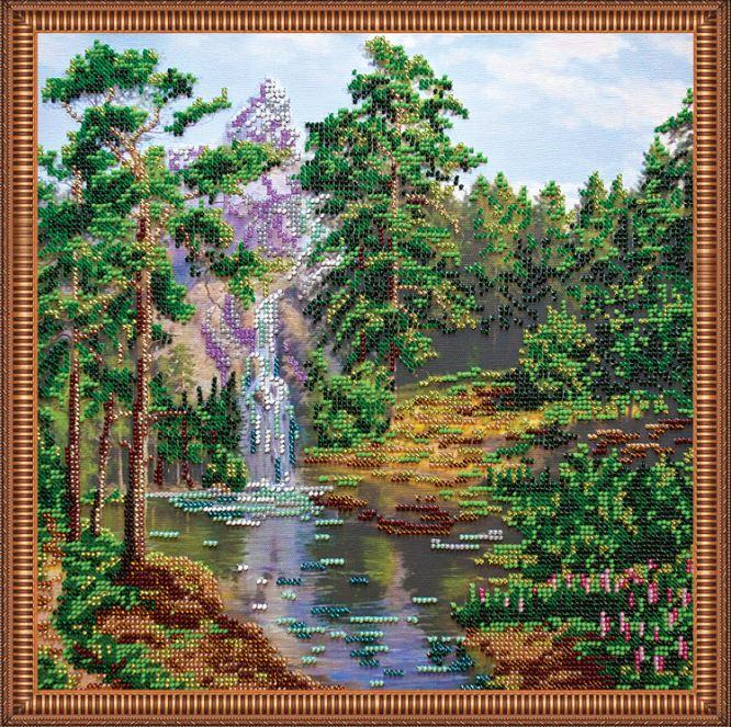 Набор для вышивания бисером Горный водопад, 30 см х 30 см. АВ-213556143