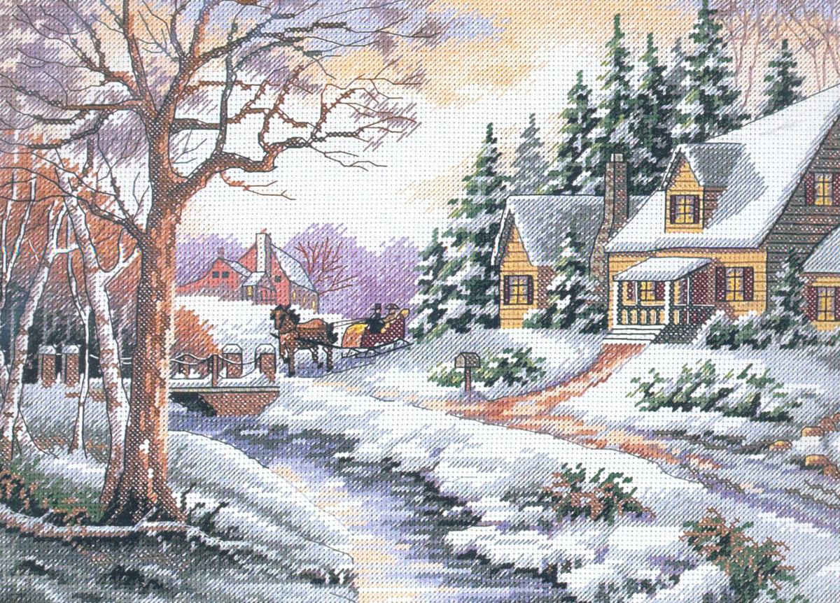Набор для вышивания Dimensions Зимняя улица, 35,5 х 27,9 см DMS-13691644151
