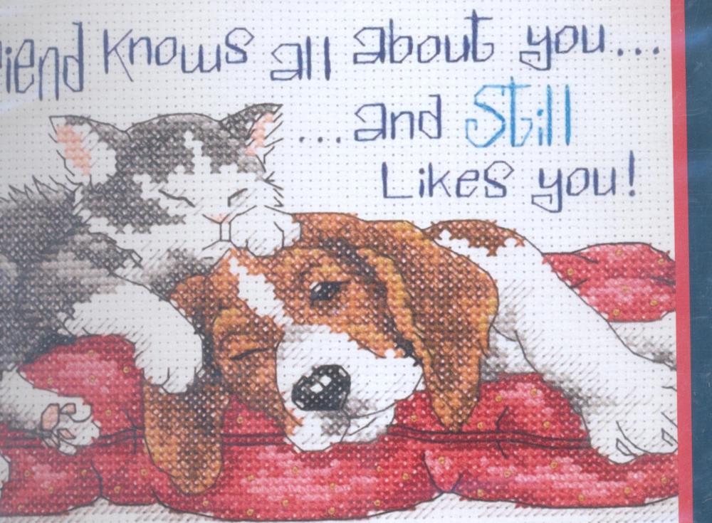 Набор для вышивания крестом Dimensions Кот и пес, 18 см х 13 см644402