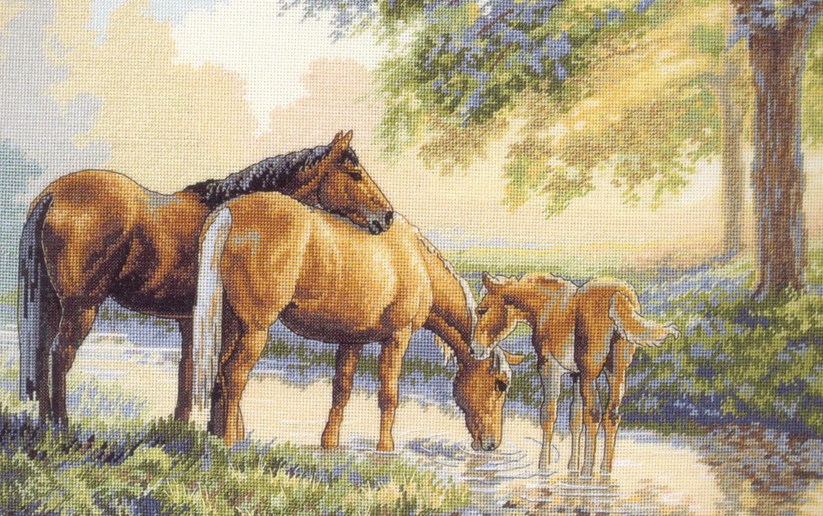 Набор для вышивания Dimensions Лошади у источника, 41 х 28 см644670