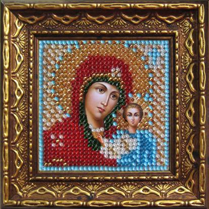 Набор для вышивания бисером Икона Божия Матерь Казанская, 6,5 см х 6,5 см, с багетной рамкой. 2011дПИ657015