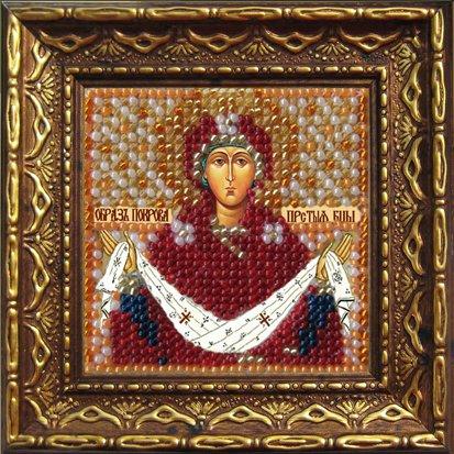 Набор для вышивания бисером Икона Покрова Пресвятой Богородицы, 6,5 х 6,5 см, с багетной рамкой. 2033дПИ657018