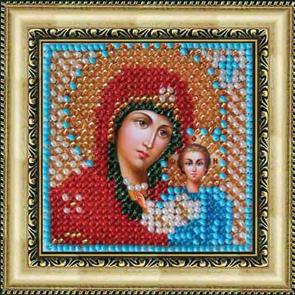 Набор для вышивания бисером Икона Божия Матерь Казанская, 6,5 см х 6,5 см. 011ПМИ679653