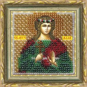 Набор для вышивания бисером Икона Святая Мученица Алла, 6,5 см х 6,5 см680611