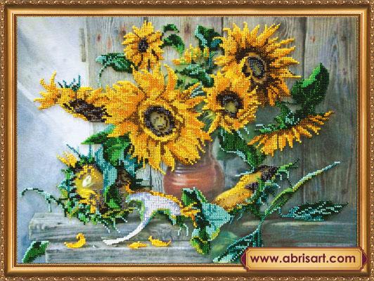 Набор для вышивания бисером Цветы солнца, 43 см х 32 см. 694492694492