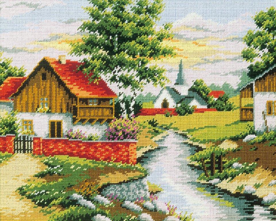 Набор для вышивания гобелена Дом на берегу, 50 х 40 см427/31Красивый и стильный рисунок-вышивка, выполненный на канве, выглядит оригинально и всегда модно. В наборе для вышивания Дом на берегу есть все необходимое для создания собственного чуда. Работа, сделанная своими руками, создаст особый уют и атмосферу в доме и долгие годы будет радовать вас и ваших близких. Ведь вы выполните вышивку с любовью!