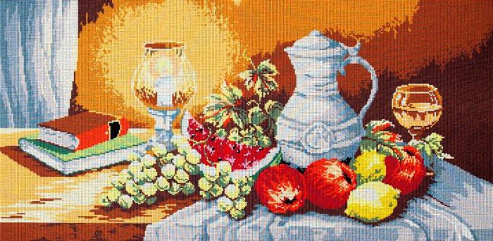 Набор для вышивания гобелена Фрукты на столе, 90 см х 45 см437/8Красивый и стильный рисунок-вышивка, выполненный на канве, выглядит оригинально и всегда модно. В наборе для вышивания Фрукты на столе есть все необходимое для создания собственного чуда: канва с напечатанным рисунком, вышивальные нити, игла и руководство по вышиванию. Работа, сделанная своими руками, создаст особый уют и атмосферу в доме и долгие годы будет радовать вас и ваших близких. Ведь вы выполните вышивку с любовью!