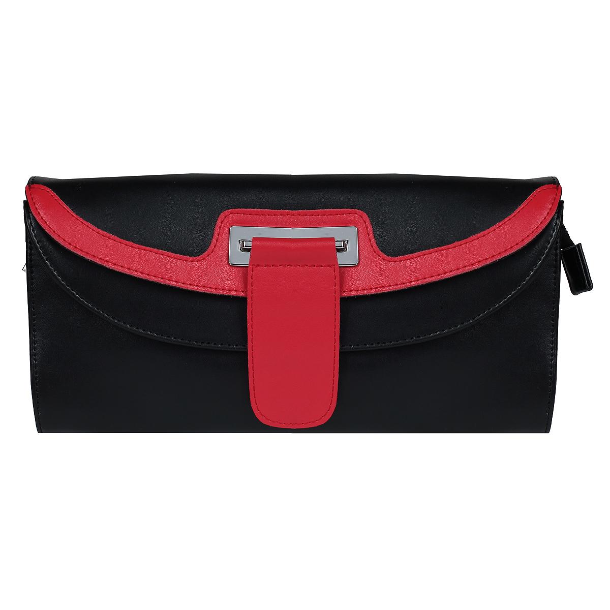 Клатч Flioraj, цвет: черный, красный. 570500-1/2570500-1/2 черн/красИзысканный и модный клатч Flioraj выполнен из натуральной кожи черного и красного цветов. Клатч застегивается на молнию и дополнительно клапаном на магнитную кнопку. Внутри расположено - одно отделение, в котором расположен вшитый кармашек на молнии и два кармашка для мелочей и телефона. Также на внешней стороне расположена обманка на двух магнитных кнопках. На задней стороне сумки расположен вшитый кармашек на молнии. К клатчу прилагаются два съемных ремня, один из которых регулируется. Такой клатч станет идеальным дополнением к весеннему настроению.