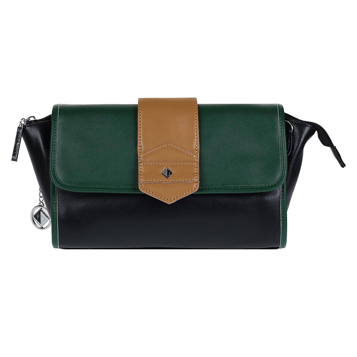 Клатч Flioraj, цвет: черный, зеленый. 570504-1/39/34570504-1/39/34 черн/зел/бИзысканный и модный клатч Flioraj выполнен из натуральной кожи черного и зеленого цветов. Клатч застегивается на молнию и дополнительно клапаном на две магнитные кнопки. Внутри - одно отделение, в котором расположен вшитый кармашек на молнии и два кармашка для мелочей и телефона. На задней стороне сумки расположен вшитый кармашек на молнии. К клатчу прилагаются два съемных ремня и ремешок для запястья. Такой клатч станет идеальным дополнением к весеннему настроению. Характеристики: Материал: натуральная кожа, текстиль, металл. Цвет: черный, зеленый. Размер сумки: 25 см х 17 см х 5 см. Длина плечевого ремня: 120 см.