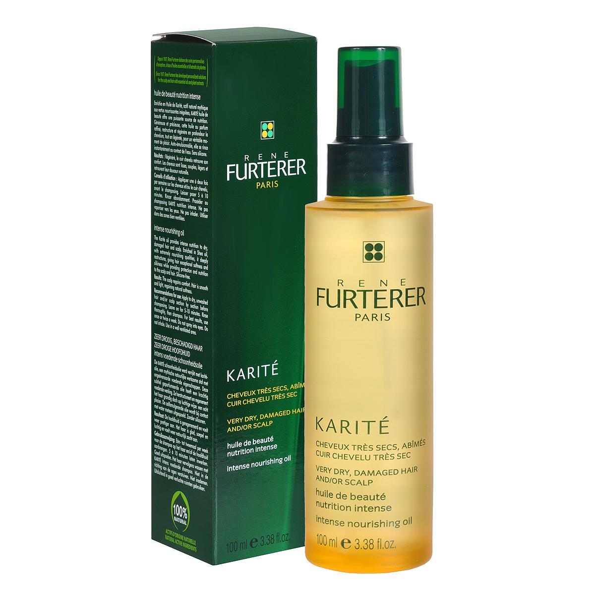 Rene Furterer Масло Karite, для интенсивного питания волос, 100 мл3282779312677Масло Карите - превосходное питательное средство для ухода за очень сухими волосами. Масло Карите, обогащенное питательными веществами, восстанавливает структуру поврежденных волос, не утяжеляя их. Волосы становятся легкими, мягкими и шелковистыми.