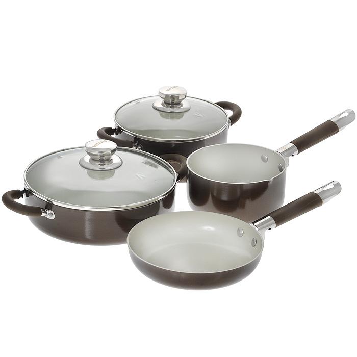 Набор посуды Vitesse, с керамическим покрытием, 6 предметов. VS-2222VS-2222Набор посуды Vitesse состоит из двух кастрюль с крышками, сковороды и ковша. Изделия выполнены из высококачественного алюминия. Внешнее термостойкое покрытие коричневого цвета, подвергшееся высокотемпературной обработке, обеспечивает легкую чистку. Внутреннее керамическое покрытие Eco-Cera белого цвета абсолютно безопасно для здоровья человека и окружающей среды, так как не содержит вредной примеси PFOA и имеет низкое содержание CO в выбросах при производстве. Керамическое покрытие обладает устойчивостью к царапинам и механическим повреждениям. Прочность покрытия позволяет готовить при температуре до 450°С и использовать металлические лопатки. Кроме того, с таким покрытием пища не пригорает и не прилипает к стенкам. Готовить можно с минимальным количеством подсолнечного масла. Посуда быстро разогревается, распределяя тепло по всей поверхности, что позволяет готовить в энергосберегающем режиме, значительно сокращая время, проведенное у плиты. Посуда оснащена удобными...