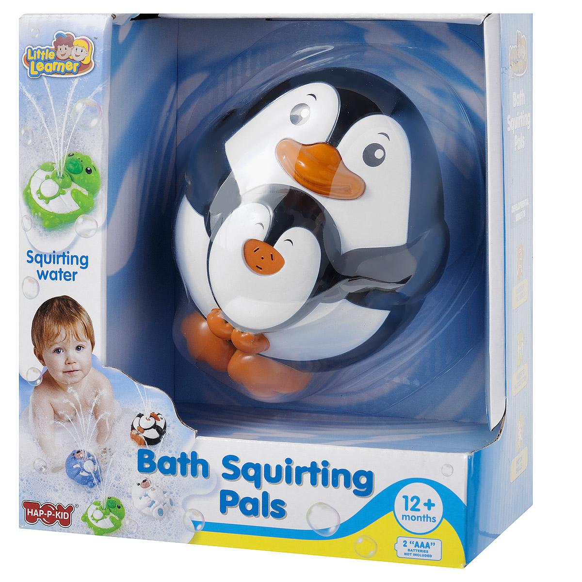 Happy Kid Игрушка для ванной Пингвиненок4307Игрушка для ванной Happy Kid Пингвиненок привлечет внимание вашего малыша и превратит купание в веселую игру! Игрушка выполнена из пластика черного, белого и оранжевого цветов в виде забавного пингвинчика с детенышем. Игрушка отлично держится на воде и может плавать в ванной, не боясь шампуней и погружений под воду. При нажатии на нос пингвинчика игрушка выпускает фонтанчик воды. Эта яркая великолепная игрушка поможет ребенку в игровой форме развить цветовое и звуковое восприятие, причинно-следственные связи и мелкую моторику рук. Для работы игрушки необходимы 2 батарейки типа ААА (не входят в комплект).