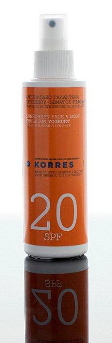 Korres Защита От Солнца Эмульсия солнцезащитная для лица и тела с йогуртом SPF 20 150 мл 5203069035692