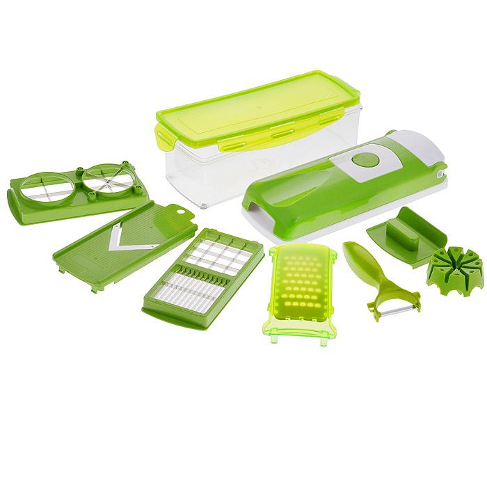 Овощерезка Bradex Salad GourmetTK 0029Овощерезка Bradex Salad Gourmet, выполненная из высококачественного пластика и нержавеющей стали, обладает огромным диапазоном применения и занимает очень мало места на кухне. С помощью этого уникального приспособления вы сможете порезать сырые и вареные овощи и фрукты, на-шинковать лук, натереть морковь и многое другое. В комплект входит: - режущий верхний элемент с решеткой; - режущая нижняя часть (база); - контейнер для хранения с крышкой; - вкладыш-лезвие для нарезания маленькими/средними кубиками; - вкладыш-лезвие для нарезания ломтиками/крупными кубиками; - вкладыш-лезвие для нарезания на четвертинки и клинья; - съемная насадка на лезвия прибора; - частичная защитная насадка на все режущие вкладыши; - насадка-терка (с защитной крышкой); - сплошная насадка для нарезания продуктов ломтиками (с защитной крышкой для лезвия); - устройство для фиксации овощей и фруктов с приспособлением для их...