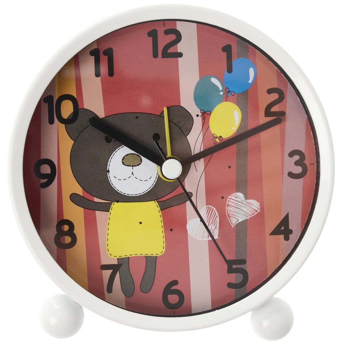 Часы настольные Мишка, цвет: коричневый, красный. N0909C4.RDN0909C4.RDНастольные часы круглой формы, выполненные из пластика и металла, прекрасно украсят интерьер вашего помещения. Циферблат часов имеет четыре стрелки: часовую, минутную, секундную и будильник и оформлен изображением симпатичного мишки с воздушными шариками. Оформите свой дом таким интерьерным аксессуаром или преподнесите его в качестве презента друзьям, и они оценят ваш оригинальный вкус и неординарность подарка. Характеристики: Материал: пластик, металл. Общий размер часов: 11 см х 5 см х 10 см. Диаметр циферблата: 9 см. Часы работают от 1 батарейки AA (не входит в комплект).