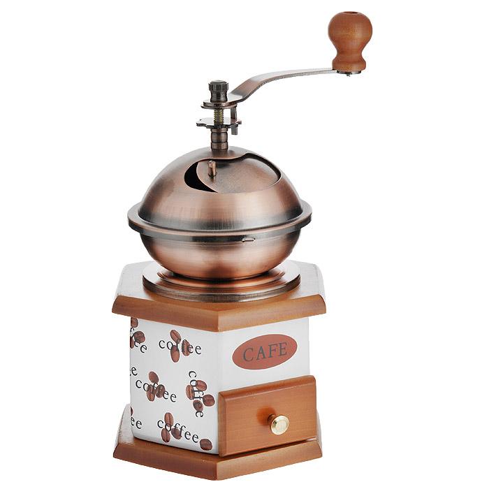 Мельница для кофе Atlantis. RQ001HRQ001HРучная мельница для кофе Atlantis с керамической емкостью позволит вам молоть зерна кофе в любой удобный для вас момент. Внешние стенки емкости украшены изображением кофейных зерен. Механизм помола и ручка выполнены из металла. Молотый кофе собирается в специальный выдвижной деревянный ящичек. Мельница даст вам возможность насладиться первозданным ароматом кофейных зерен и станет изюминкой ежедневного ритуала приготовления идеальной чашки кофе. Прекрасный подарок для истинных ценителей кофе.