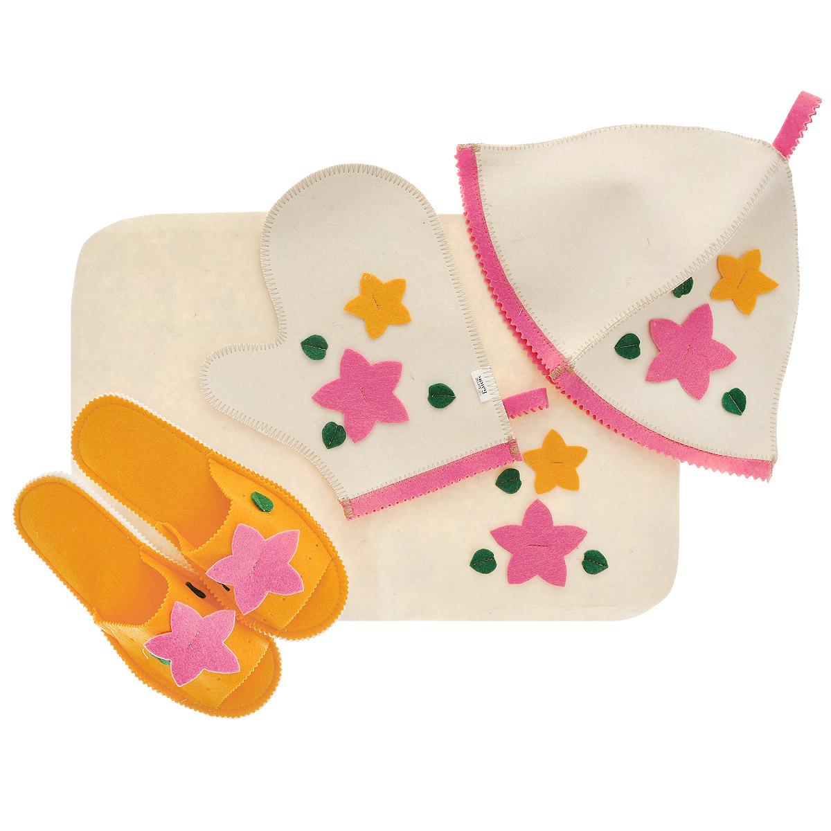 Набор для бани и сауны Доктор баня Букет, цвет: оранжевый, розовый, 4 предмета904710Набор для бани и сауны Доктор баня Букет, выполненный из фетра, привлечет внимание любителей модных тенденций в банной одежде. В набор входят все необходимые аксессуары, для того чтобы банный поход принес вам только радость. Набор состоит из коврика, шапки, рукавицы и тапочек. Шапка - незаменимая вещь в парной. Она необходима для того, чтобы не перегреть голову, также она должна хорошо впитывать влагу. Коврик убережет вас от горячей полки, защитит вас в общественной бане, а варежка обезопасит ваши руки от горячего пара или ручки ковша. Рукавицей можно также прекрасно помассировать тело. Тапочки сделают ваше пребывание в бане комфортным. Все предметы декорированы аппликацией в виде цветов и листьев. Диаметр основания шапки: 35 см. Высота шапки: 24 см. Размер рукавицы: 22,5 х 27 см. Размер коврика: 33 х 50 см. Длина тапок: 26 см. Наибольшая ширина тапок (по подошве): 10,5 см.