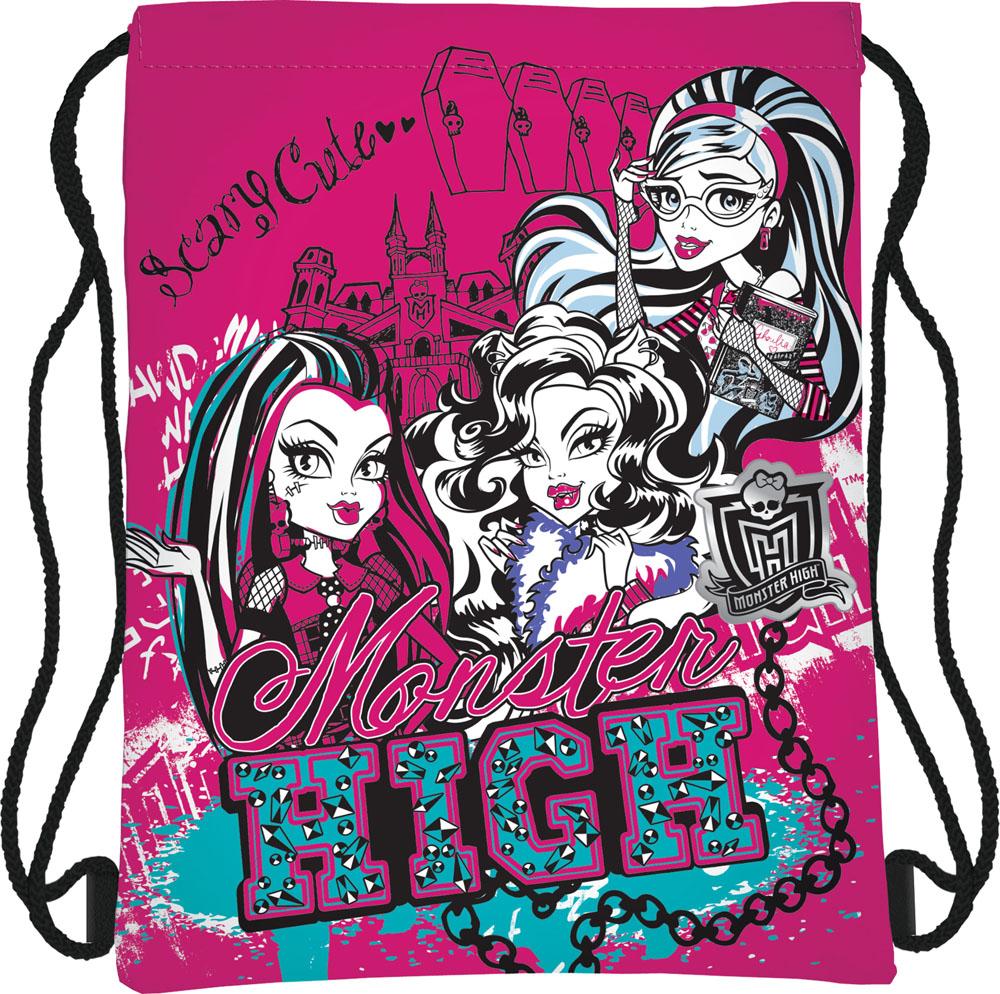 """Сумка для сменной обуви """"Monster High"""", цвет: ярко-розовый, черный MHBB-RT2-883"""