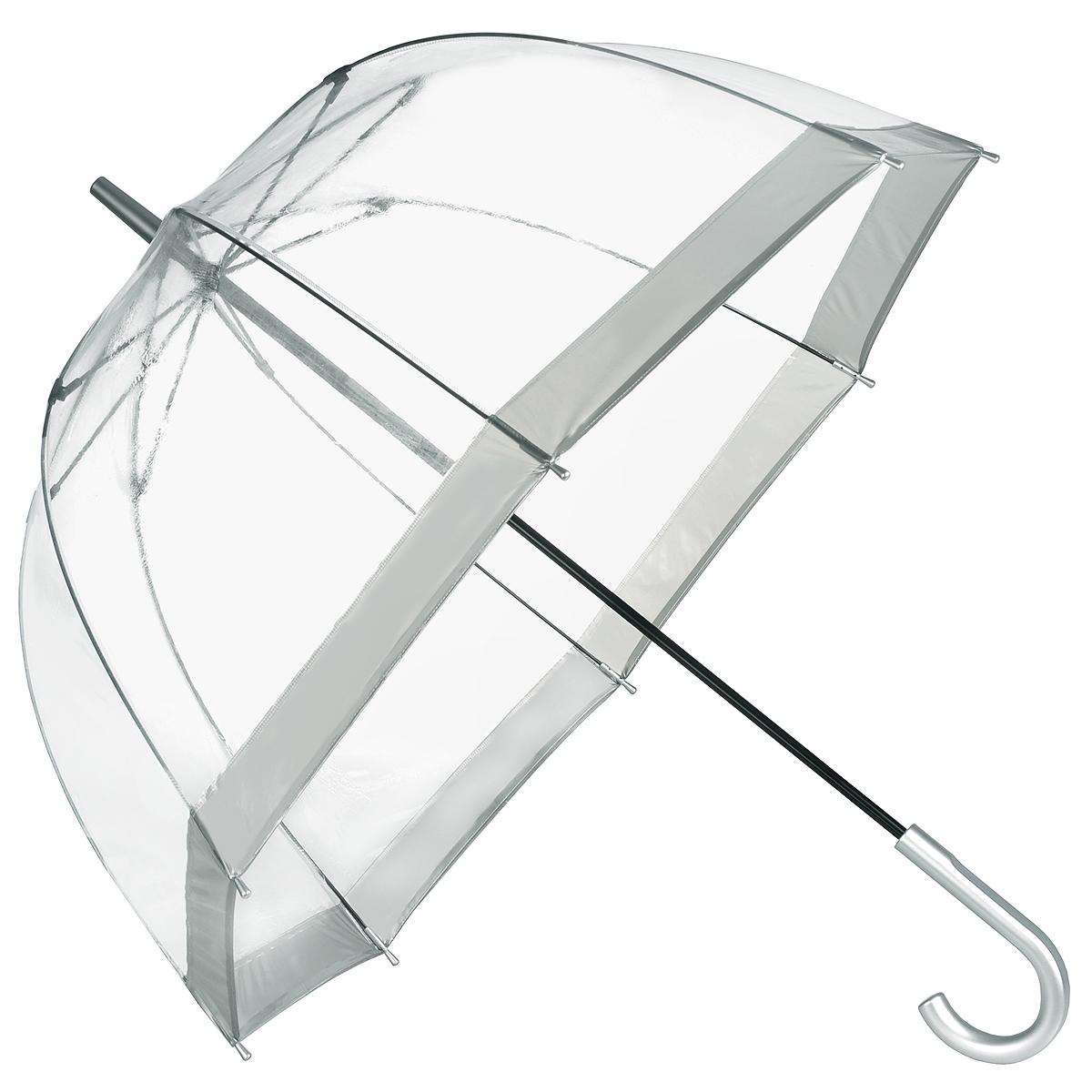 Зонт-трость женский Bird cage, механический, цвет: прозрачный, серебристый. L041 1F003L041 1F003Стильный куполообразный зонт-трость Bird cage, защищающий голову и плечи, даже в ненастную погоду позволит вам оставаться элегантной. Каркас зонта выполнен из 8 спиц из фибергласса, стержень изготовлен из стали. Купол зонта выполнен из прозрачного ПВХ с серебристыми вставками по краям. Рукоятка закругленной формы, выполненная из пластик серебристого цвета, разработана с учетом требований эргономики. Зонт имеет механический тип сложения: купол открывается и закрывается вручную до характерного щелчка. Такой зонт не только надежно защитит вас от дождя, но и станет стильным аксессуаром.