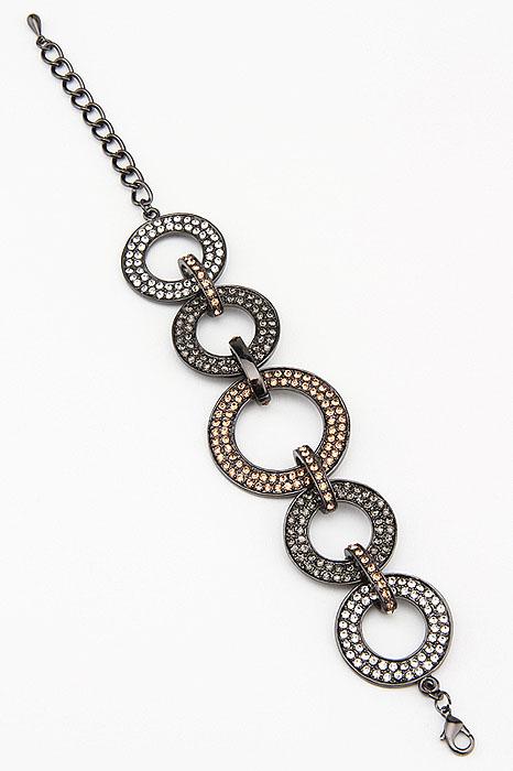 Браслет Fashion Jewelry, цвет: черный, золотистый, серебристый. BR0139BR0139Браслет Fashion Jewelry представляет собой декоративные элементы выполненные из металла и украшенные стразами, скрепленные между собой. Браслет имеет застежку-карабин с регулирующей длину цепочкой, что позволяет регулировать размер браслета. Красивое и необычное украшение блестяще подчеркнет изысканный вкус, женственность и красоту своей обладательницы и поможет внести разнообразие в привычный образ.