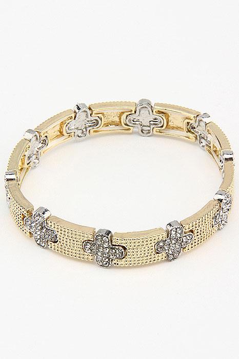 Браслет Fashion Jewelry, цвет: желтый, серебристый. BR0193BR0193Браслет Fashion Jewelry на резинке, выполненный из металла, украшен стразами. Такой браслет позволит вам быть оригинальной и изящной и создать свой неповторимый образ. Красивое и необычное украшение блестяще подчеркнет изысканный вкус, женственность и красоту своей обладательницы и поможет внести разнообразие в привычный образ.