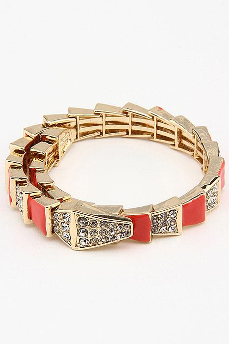 Браслет Fashion Jewelry, цвет: золотистый, красный. BR3127BR3127Браслет Fashion Jewelry оригинального дизайна изготовлен из метала и украшен стразами и эмалью. Браслет не имеет застежки, что позволяет регулировать размер браслета. Красивое и необычное украшение блестяще подчеркнет изысканный вкус, женственность и красоту своей обладательницы и поможет внести разнообразие в привычный образ.