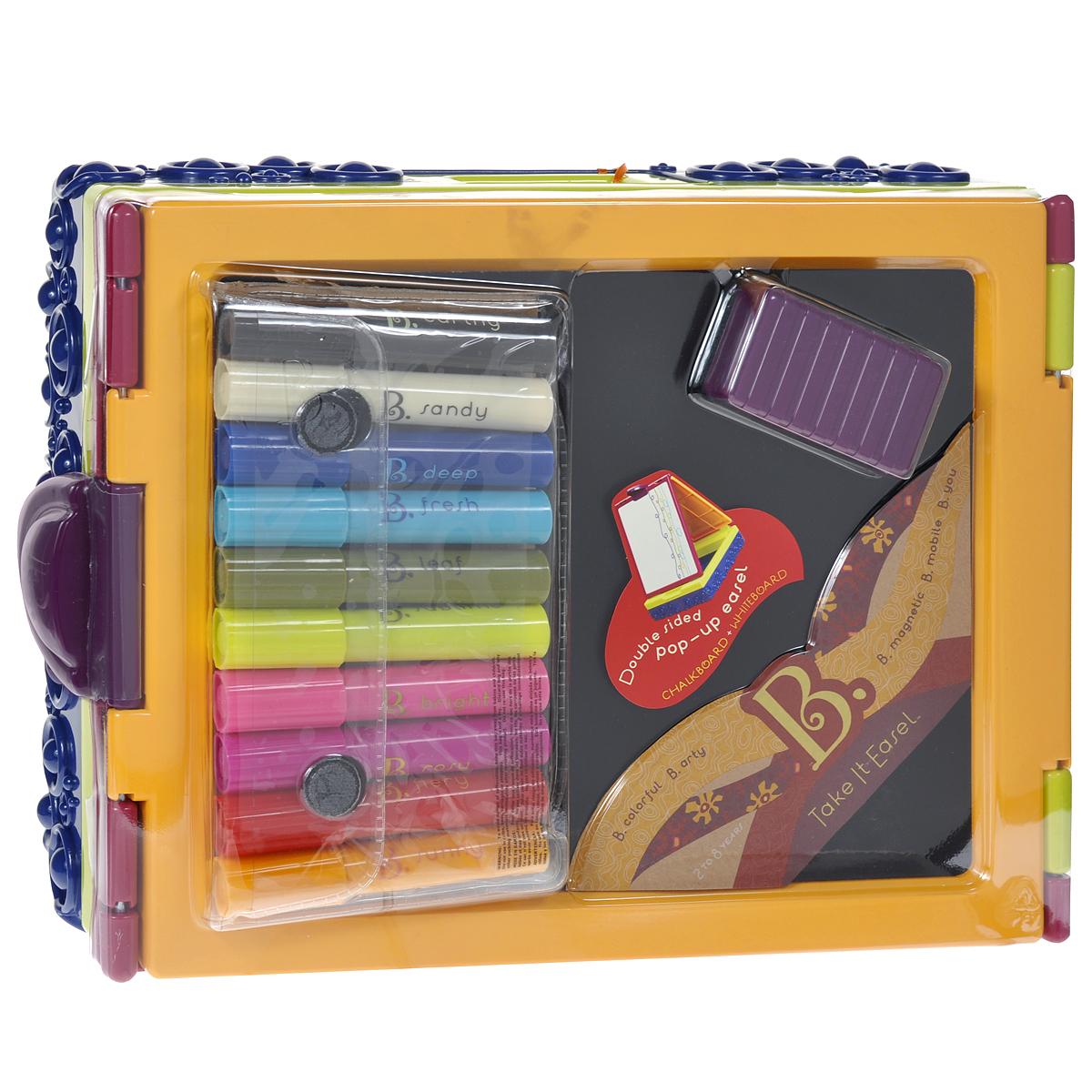 Складной мольберт для рисования B.Dot, с фломастерами68651Яркий складной мольберт B.Dot станет прекрасным помощником вашему ребенку в развитии художественных талантов. Он легко превратит детскую комнату в художественную мастерскую и поможет приобрести навыки, необходимые в школе. Он выполнен из прочного пластика ярких цветов в виде складного чемоданчика. При раскрытии он превращается в доску, на которой легко можно рисовать и учиться писать буквы и слова. Лист бумаги легко крепится на мольберте с помощью держателя, расположенного в верхней части. В чемоданчике удобно хранить фломастеры, мелки и другие необходимые принадлежности. В комплект входят: мольберт, фломастеры десяти цветов и специальная губка для стирания фломастеров и мелков.