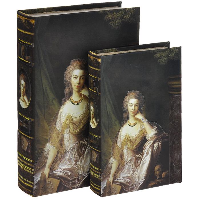 Набор шкатулок-фолиантов Портер леди, 2 шт. 184152184152Набор Портрет леди включает в себя две шкатулки разных размеров, выполненные в виде старых книг-фолиантов. Обложки шкатулок выполнены из текстиля со вставками из кожзаменителя и оформлены изображением благородной дамы. Такие шкатулки послужат оригинальным, а главное, практичным подарком, в котором замечательно сочетаются внешний вид и функциональность. Шкатулки, непременно, понравятся любителю изысканных вещей. В них можно хранить памятные вещи, документы или любые другие мелочи. Характеристики: Материал: МДФ, кожзаменитель, текстиль. Размер большой шкатулки: 33 см x 22,5 см x 7 см. Размер маленькой шкатулки: 26 см x 17 см x 5 см.