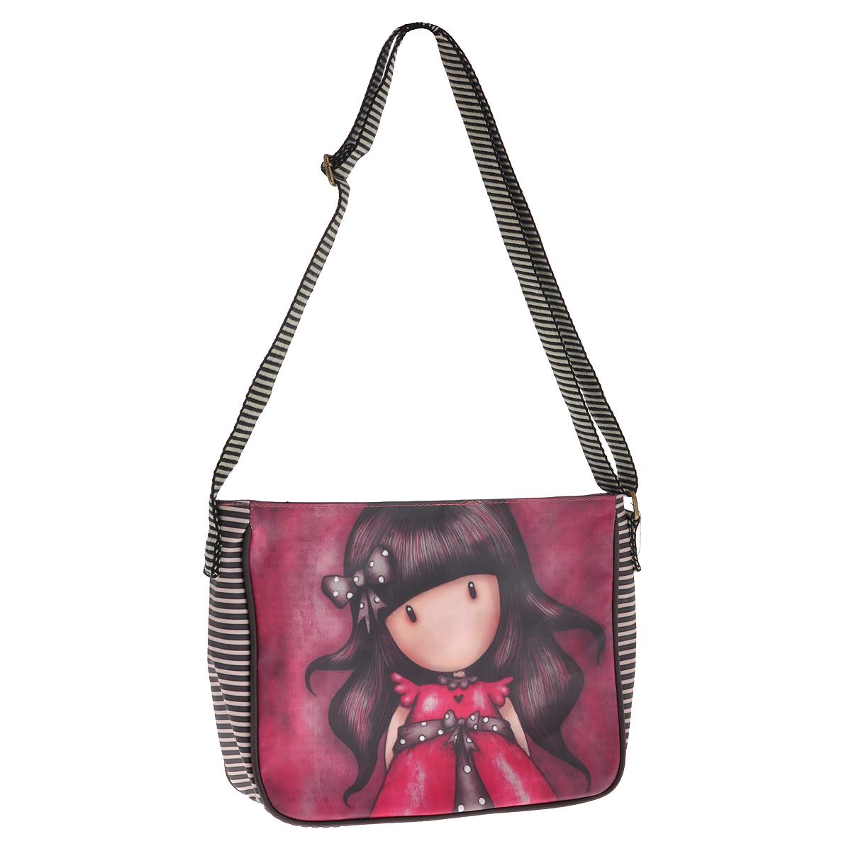 Сумка Ladybird, цвет: малиновый. 00122270012227Стильная сумка Ladybird выполнена из хлопка и полипропилена и украшена принтом с очаровательной девочкой. Сумка состоит из одного основного отделения, закрывающегося на молнию, на лицевой стороне сумки имеется кармашек на молнии. Внутри - накладной кармашек для мелочей и вшитый карман на молнии. Для удобной переноски на плече предусмотрена широкая регулируемая лямка. К сумке прилагается яркий и милый брелок. Такая сумка идеально дополнит и подчеркнет ваш неповторимый образ.