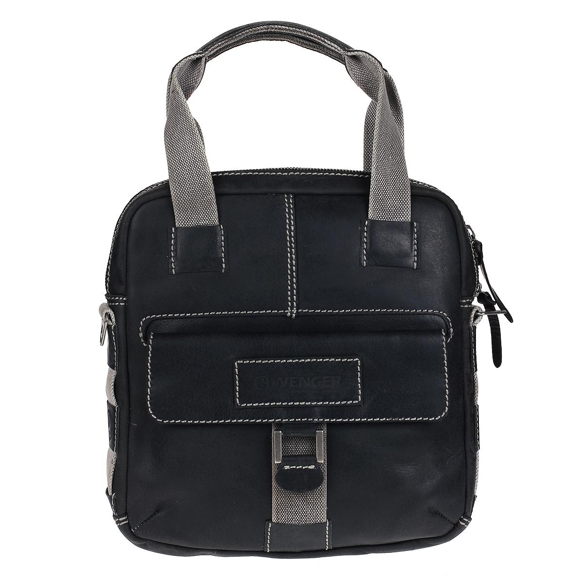 """Сумка мужская Wengler Arizona, цвет: серый. W23-04BlW23-04BlСтильная, вместительная сумка Wenger """"Arizona"""" выполнена из коровьей кожи с потертостями, что делает ее уникальной. Сумка оформлена контрастной отстрочкой и отделкой из толстых текстильных ремней. Вертикальная сумка имеет одно отделение на металлической молнии с двумя бегунками. Внутри - вшитый карман на молнии, шесть отделений для карточек и визиток, два кармана для пишущих инструментов, карман для мобильного телефона и отделение для планшетного компьютера. На лицевой стороне расположен карман, закрывающийся клапаном на магнитную кнопку. На задней стенке - вшитый карман на молнии. Сумка оснащена двумя ручками, а также текстильным плечевым ремнем регулируемой длины. Стильная, практичная сумка в стиле кэжуал для современного мужчины. Кожаные сумки Wenger - модные, функциональные, высококачественные сумки с уникальным дизайном. Характеристики: Материал: натуральная коровья кожа, текстиль, металл. Цвет: серый. Размер сумки: 33 см х..."""