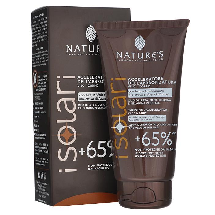 Natures Крем усилитель загара +65% iSolari, 150 мл60041633Крем усилитель загара +65% Natures iSolari рекомендован для тех, кто хочет быстро получить красивый яркий бронзовый оттенок кожи, в том числе в солярии. Крем усиливает естественный процесс пигментации кожи более чем на 65%. Не содержит фактор защиты кожи. Поэтому может использоваться как самостоятельное средство для хорошо загорелой или смуглой, невосприимчивой к солнцу кожи, или как основа под солнцезащитный крем с подходящим уровнем защиты. С помощью этого крема можно подготовить светлую кожу к загару, начав применение за одну неделю до выхода на солнце. Активные компоненты: бурая водоросль, растительный меланин, масло Ши, абрикосовое молочко, сок дыни, масло кофе, миндальное масло, рисовое масло.