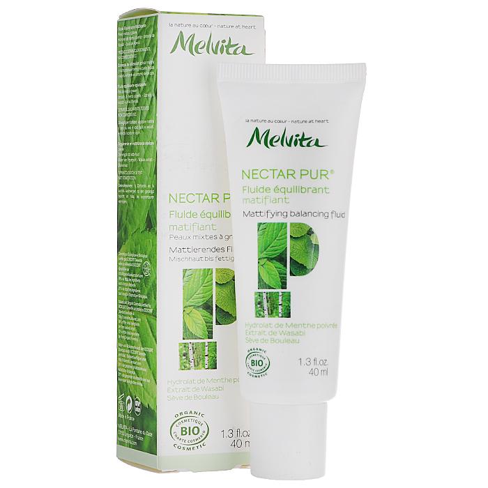 Melvita Флюид Nectar Pure, для жирной и комбинированной кожи, матирующий, 40 мл027919Легкий флюид Melvita Nectar Pure увлажняет кожу, регулирует выработку кожного сала, предотвращает возникновение акне. Идеально подходит для проблемной кожи. Он содержит большое количество увлажняющих и стимулирующих активных ингредиентов, таких как березовый сок, белый люпин, мурера и алоэ вера, которые способствуют восстановлению кожи. Сочетание йогурта, инулина цикория, босвелии (ладанного дерева) и имбиря помогает снизить чувствительность кожи, а восстанавливающее действие ивы и лактата цинка усиливается матирующим эффектом рисовой пудры.