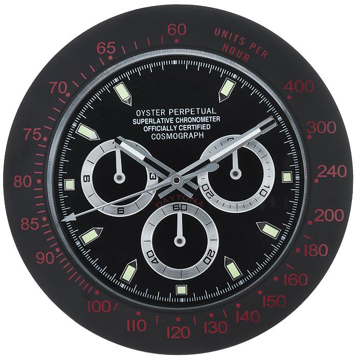 Часы настенные Командирские, цвет: черный. 9549795497Оригинальные настенные часы Командирские - это увеличенная копия знаменитых наручных командирских часов. Изделие выполнено из исключительно качественных материалов. Корпус изготовлен из коррозионностойкой нержавеющей стали черного цвета. Циферблат из матового пластика черного цвета защищен плотным стеклом. Часы имеют три стрелки: часовую, минутную и секундную. На стрелки и часовые метки нанесено фосфоресцирующее покрытие, которое создает подсветку в темное время суток. Механизм часов - кварцевый. С задней стороны часов имеется отверстие для подвешивания на стену. Настенные командирские часы - отличный подарок для мужчины, ценящего время и высокое качество жизни. Характеристики: Материал: пластик, коррозионностойкая сталь, стекло. Диаметр корпуса: 33,5 см. Толщина корпуса: 4 см. Диаметр циферблата: 25 см. Цвет: черный. Необходимо докупить одна батарейку типа АА (в комплект не входит).