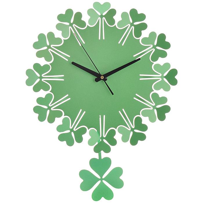 "Часы настенные ""Клевер"", с маятником, цвет: зеленый. 95180"