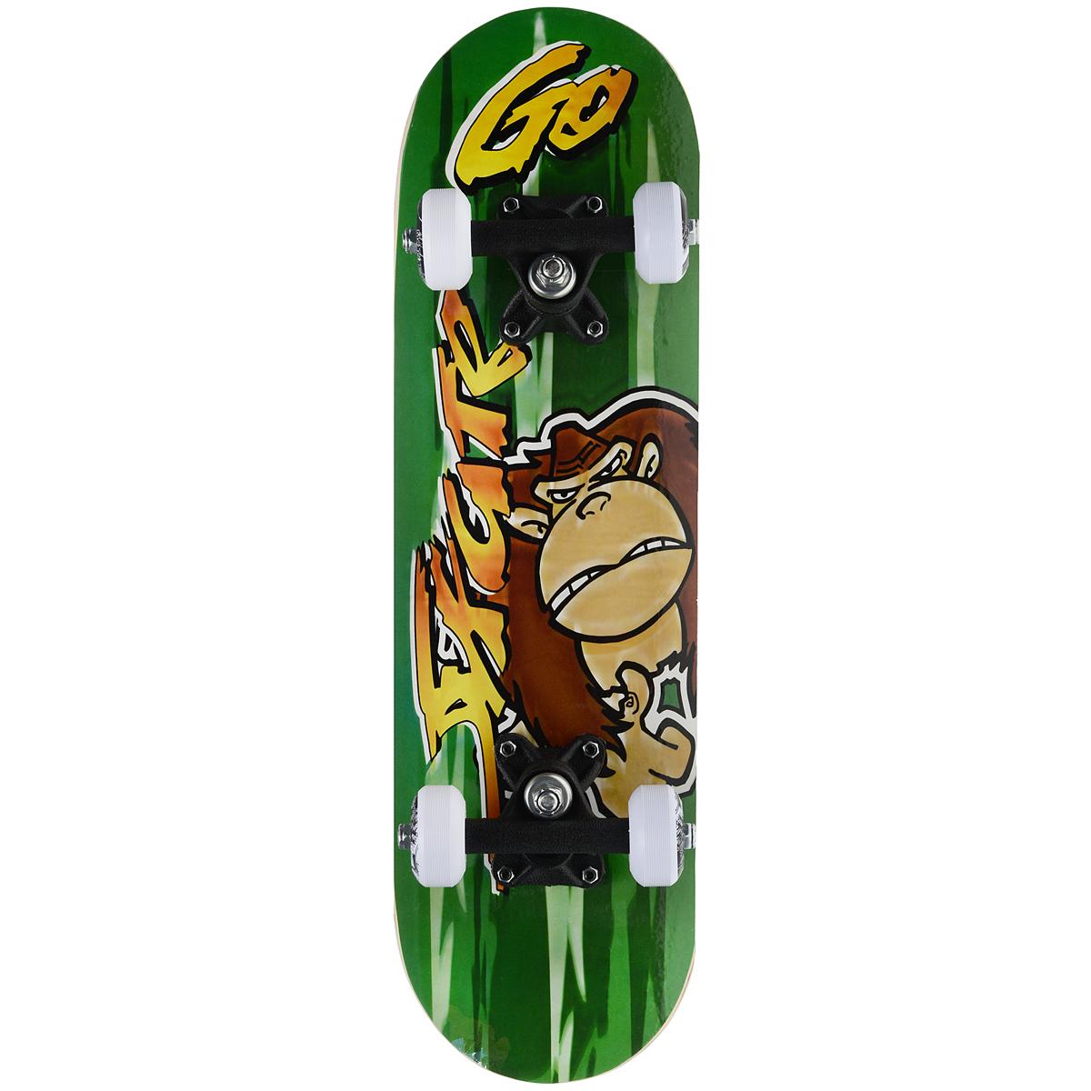 Скейтборд MaxCity Monkey, цветной принт, дека 55 см х 16,5 см2770960904714Cкейтборды MaxCity - это самый подходящий вариант для начинающих скейтбордистов и просто любителей. Качественные материалы изготовления дадут вам полностью ощутить удовольствие от катания, а надежные комплектующие позволят выполнять несложные трюки без риска повредить доску. MaxCity - это качество по приемлемой цене. Нижняя часть деки украшена оригинальным рисунком.